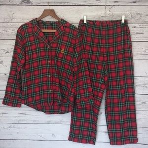 Lauren Red Green Plaid Flannel Pajama Set Small